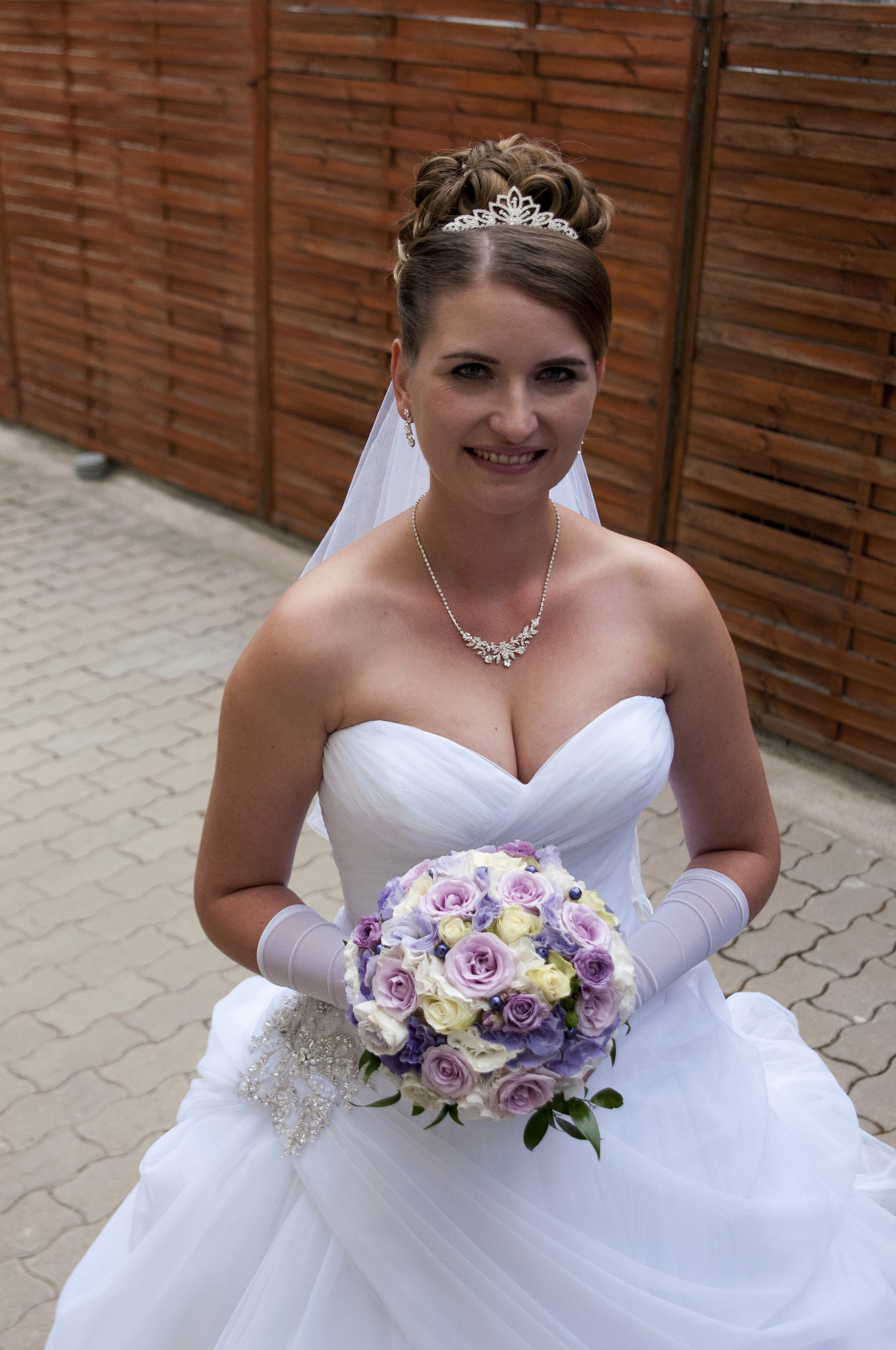 wedding day dress and lashes