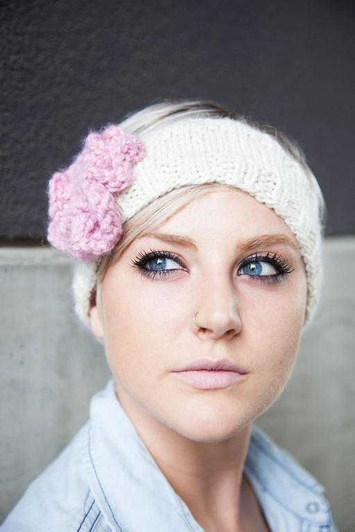 White Knit Headband with Pink Knit Flower
