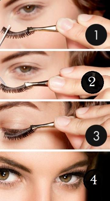 he eyelash strip along it. Bring the strip down from above, not from the front. This is to ensure that you get as close as possible to your lash line.